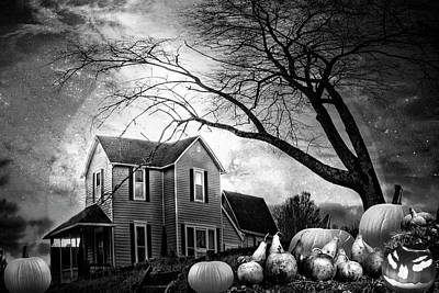 Nightfall On Halloween In Black And White Art Print