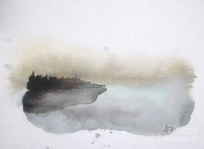 Abstract Seascape Painting - Nightfall On The Lake  by Vesna Antic