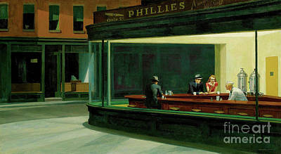 Watercolor Alphabet - Nighthawks by Edward Hopper