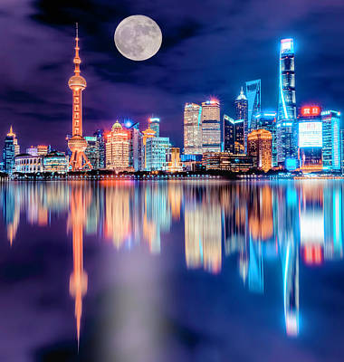 Photograph - Nightime In Pudong by PhotoWorks By Don Hoekwater