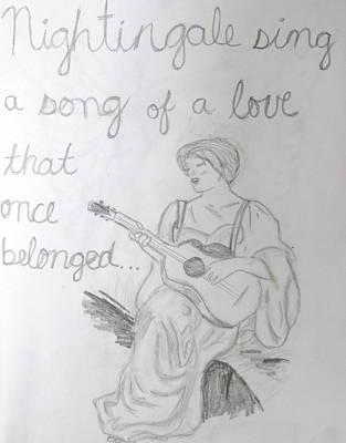 Drawing - Nightingale by Rebecca Wood