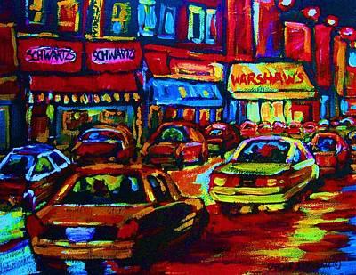 Painting - Nightlights On Main Street by Carole Spandau