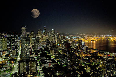Magical Place Photograph - Nightlights Seattle Washington  by Betsy Knapp