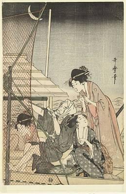 Modern Kitchen - Nightly fishing, Kitagawa Utamaro, 1795 - 1800 by Kitagawa Utamaro