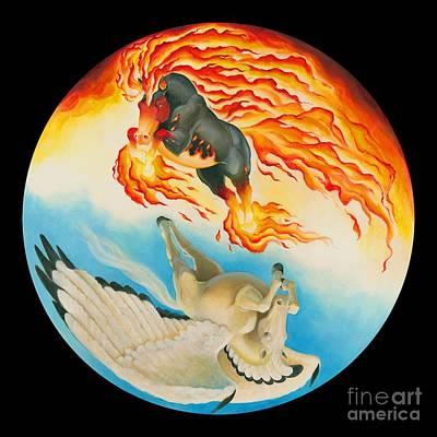 Pegasus Mixed Media - Nightmare And Mesa Pegasus Yin Yang by Melissa A Benson