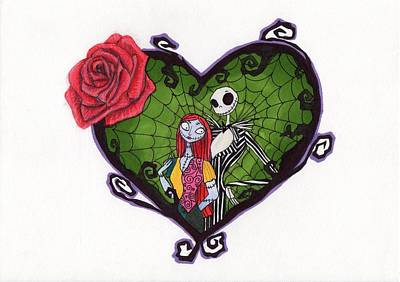 Nightmare Before Christmas Drawing - Nightmare Before Christmas Jack And Sally by Loren Hill