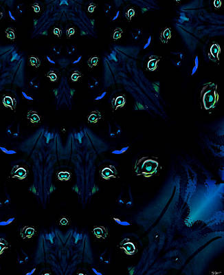 Wolf Digital Art - Night's Faces With Wolves by Abstract Angel Artist Stephen K