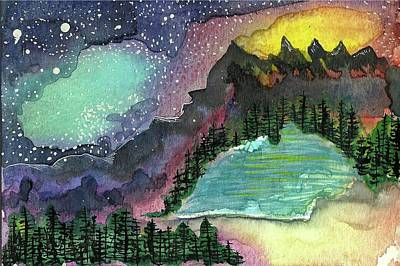 Nightsky Painting - Nightsky And Lake by Aslinn Smith