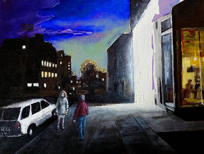 Wall Art - Painting - Nightstreet by Klaus Grumbach
