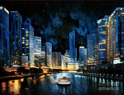 Nighttime Cityscape Art Print