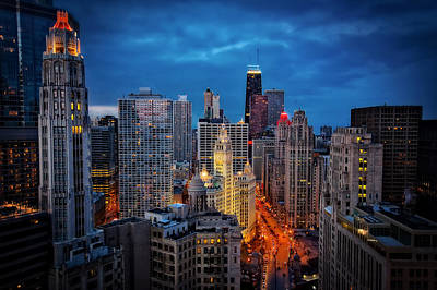 Nighttime Downtown Chicago Cityscape Art Print by Jennifer Rondinelli Reilly - Fine Art Photography