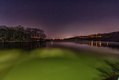 Cloud Like Glass Photograph - Nighttime Glow On The Neponset River by Brian MacLean