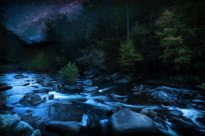 Art Print featuring the photograph Nighttime On The Cheoah River  by David Morefield