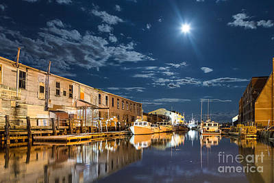 Nighttime On The Old Port Waterfront Art Print by Benjamin Williamson