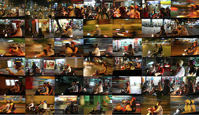Photograph - Nighttime Scooters, Hanoi by Stephen Farley