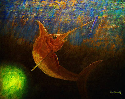 Shark Painting - Nighttime Swordfish by Ken Figurski