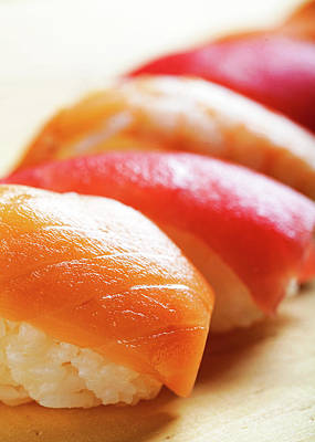 Fish Food Photograph - Nigiri Sushi On Wood - Vertical by Susan Schmitz