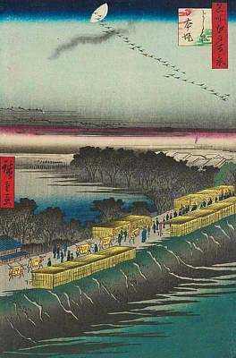 Print Painting - Nihon Embankment, Yoshiwara by Utagawa Hiroshige
