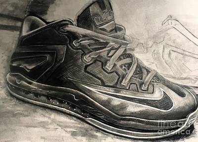 Lebron Drawing - Nike Lebron 10 Low Volt Olive by Gary Reising