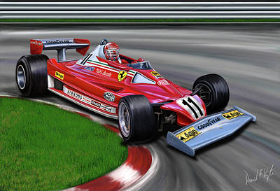 Automotive Digital Art - Niki Lauda F-1 Ferrari by David Kyte