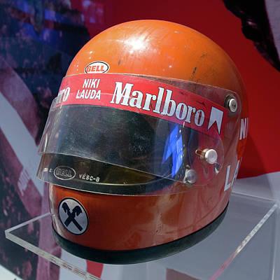 Photograph - Niki Lauda Helmet Museo Ferrari by Paul Fearn