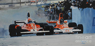 1976 Painting - Niki Lauda Vs James Hunt  by Artem Oleynik