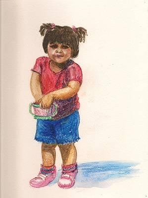 Little Girls Mixed Media - Nikita  by Asha Sudhaker Shenoy