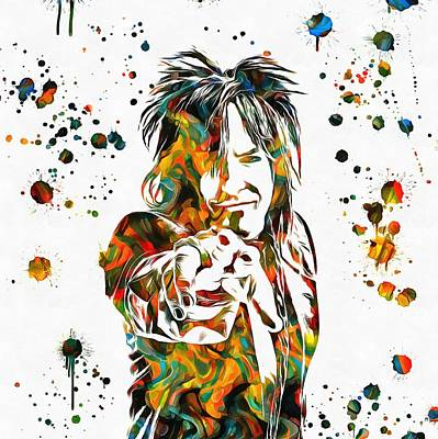 Music Royalty-Free and Rights-Managed Images - Nikki Sixx Paint Splatter by Dan Sproul