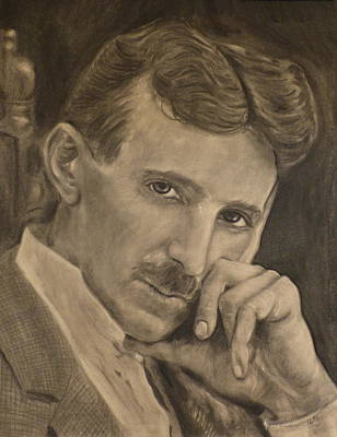 Electricity Drawing - Nikola Tesla by Adrienne Martino