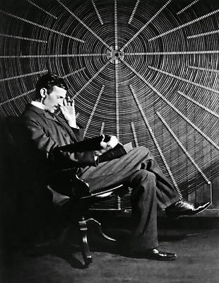 Nikola Tesla And Machine Art Print by Daniel Hagerman