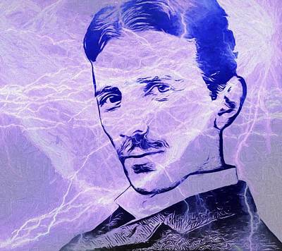 Lightning D Painting - Nikola Tesla Electric Mind by Dan Sproul