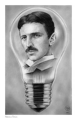 Electricity Drawing - Nikola Tesla by Greg Joens