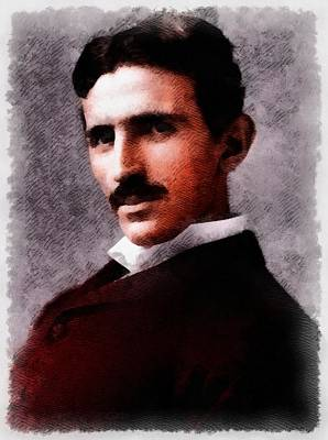 Einstein Painting - Nikola Tesla, Inventor by John Springfield