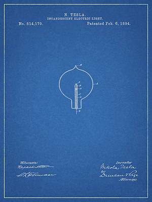 Wires Mixed Media - Nikola Tesla Light Patent by Dan Sproul