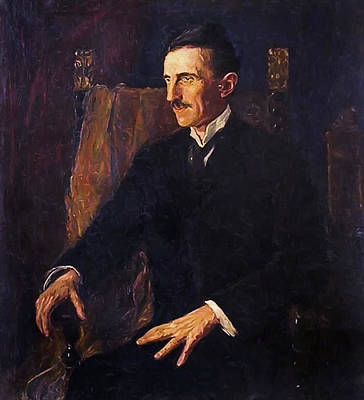 Serbia Mixed Media - Nikola Tesla - Only Known Life Portrait by Daniel Hagerman