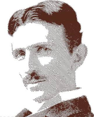 Drawing - Nikola Tesla - Parallel Hatching by Samuel Majcen