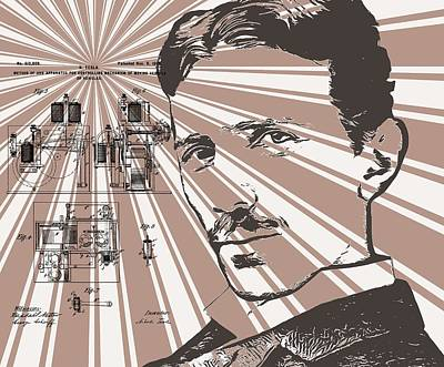 Iconic Car Drawing - Nikola Tesla Patent Poster by Dan Sproul