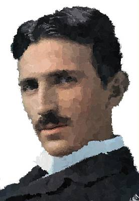 Painting - Nikola Tesla Portrait by Samuel Majcen