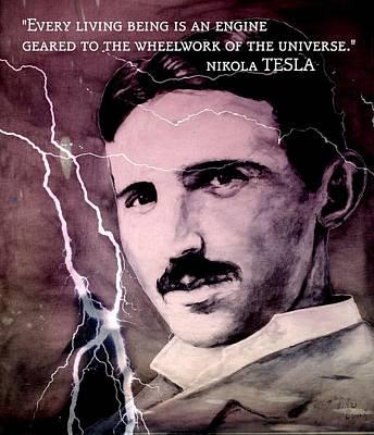 Human Brain Mixed Media - Nikola Tesla - Quote by Richard Tito