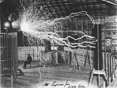 Ac - Dc Painting - Nikola Tesla Sitting In His Experimental Station Reimagined 1 by Tony Rubino