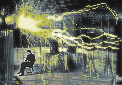 Ac - Dc Painting - Nikola Tesla Sitting In His Experimental Station Reimagined 4 by Tony Rubino