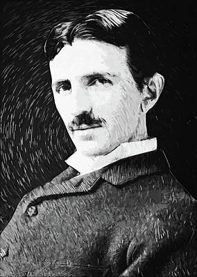 Digital Art - Nikola Tesla by Taylan Apukovska