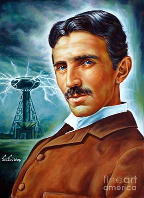 Carl Sagan Painting - Nikola Tesla - Tower Of Tesla by Spiros Soutsos