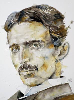 Painting - Nikola Tesla - Watercolor Portrait.6 by Fabrizio Cassetta