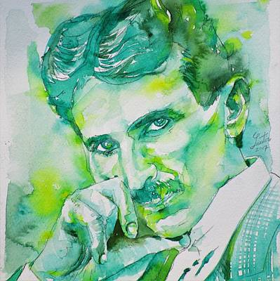 Painting - Nikola Tesla - Watercolor Portrait.8 by Fabrizio Cassetta
