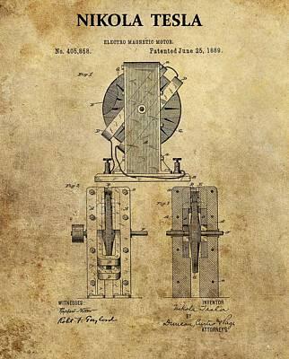 Nikola Tesla's Electro Magnetic Motor Art Print by Dan Sproul