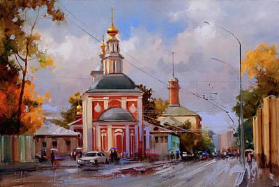 Moscow Wall Art - Painting - Nikoloyamskaya Street by Alexey Shalaev