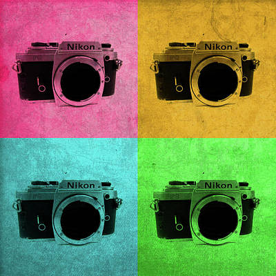 Vintage Camera Mixed Media - Nikon Camera Vintage Pop Art by Design Turnpike