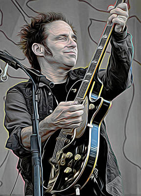 Bruce Springsteen Mixed Media - Nils Lofgren by Mal Bray