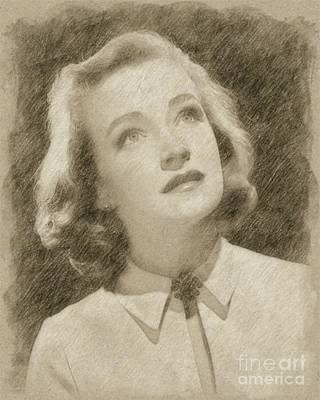 Fantasy Drawings - Nina Foch Hollywood Actress by Frank Falcon
